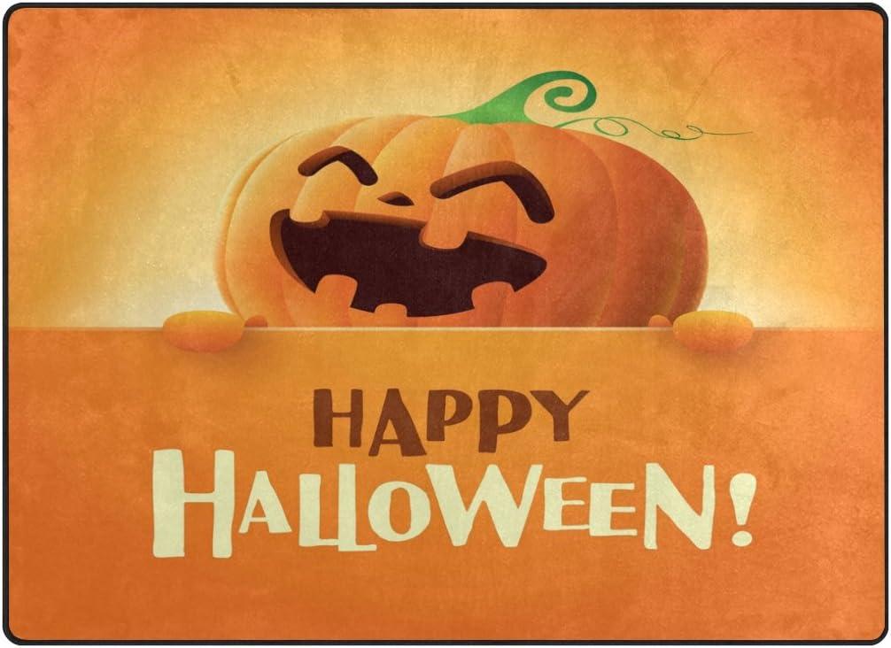 ALAZA Happy Halloween Pumpkin Emoji Area Rug Rugs for Living Room Bedroom 7 x 5