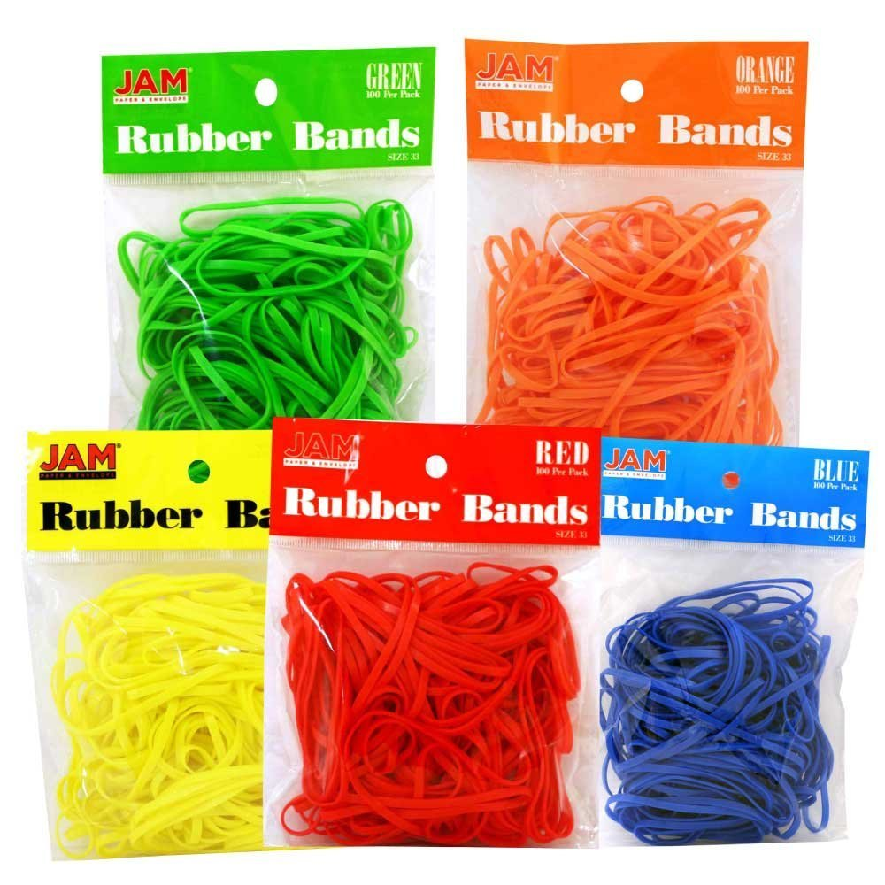 JAM PAPER Colorful Rubber Bands - Size 33 - Assorted Rubberbands - 500/Pack
