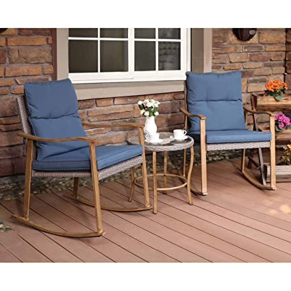 Excellent Cosiest 3 Piece Outdoor Patio Furniture Faux Woodgrain Rocking Chairs Seat 18 H W Cobalt Blue Cushions And Round Glass Top Table Bistro Set For Machost Co Dining Chair Design Ideas Machostcouk
