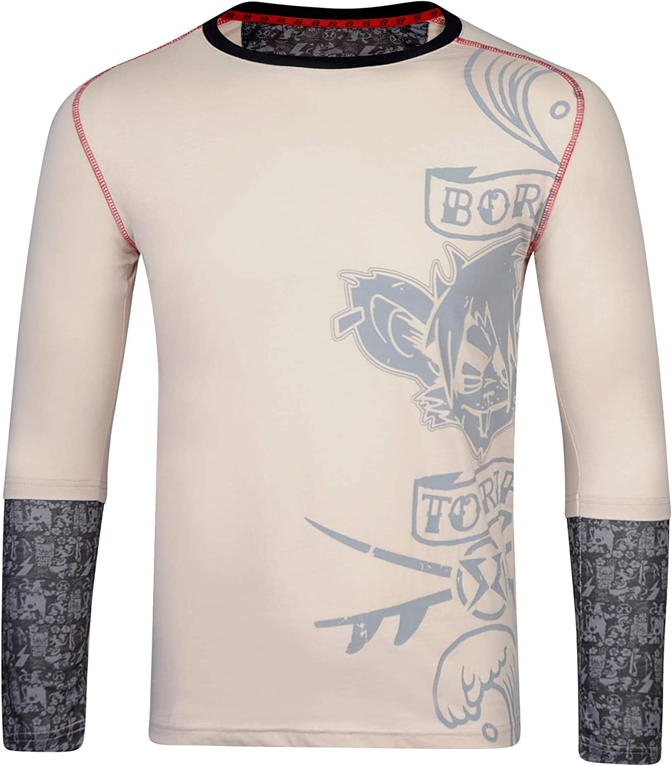 Surf Ratz Born to Rip Kids Long Sleeved Overlay T Shirt for Boys Stone