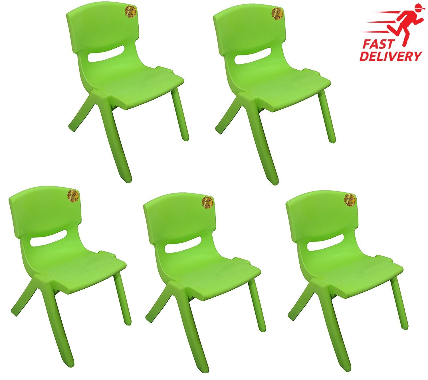 A406 10x Children Strong Stackable Kids Plastic Chairs Picnic Party Garden Nursery Club Indoor Outdoor Blue