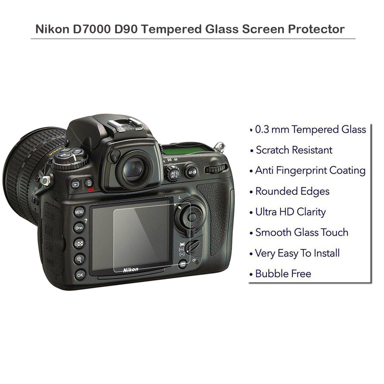 Nikon D7000 D90 Protector de pantalla de cristal templado - fiimi Protector de pantalla LCD para Nikon D7000 d90,9 H Dureza, 0,3 mm de grosor, ...