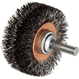 "Weiler Wide Face Wire Wheel Conflex Brush, Round Shank, Steel, Crimped Wire, 2"" Diameter, 0.0118"" Wire Diameter, 1/4"" Shank, 7/16"" Bristle Length, 3/4"" Brush Face Width, 20000 rpm"