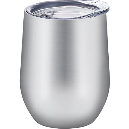 b0c742a33c7 Image Unavailable. Image not available for. Color: Skylety 12 oz Double-insulated  Stemless Glass Wine Tumbler, Stainless Steel Tumbler Cup with