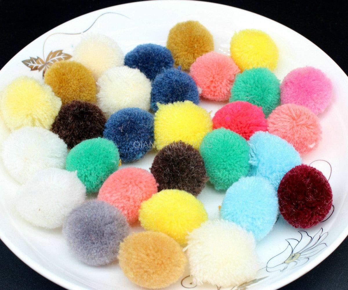 Pompom Yarn Balls 200pcs Pom Pom Ball Handmade Project Supply Garland Crochet Cotton Decor(30-35mm) Yarn Poms, Handmade Decor