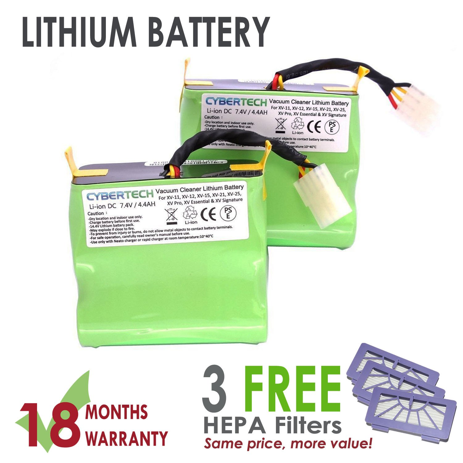Lithium Neato VX 4400mAh Replacement Battery for Neato XV-11 XV-12 XV-14 XV-15 XV-21 XV-25 Signature XV Pro Robotic Vacuum Cleaner, Super Extended Long-Life battery with 3 FREE HEPA Filter - UL& CE Certified Components CyberTech
