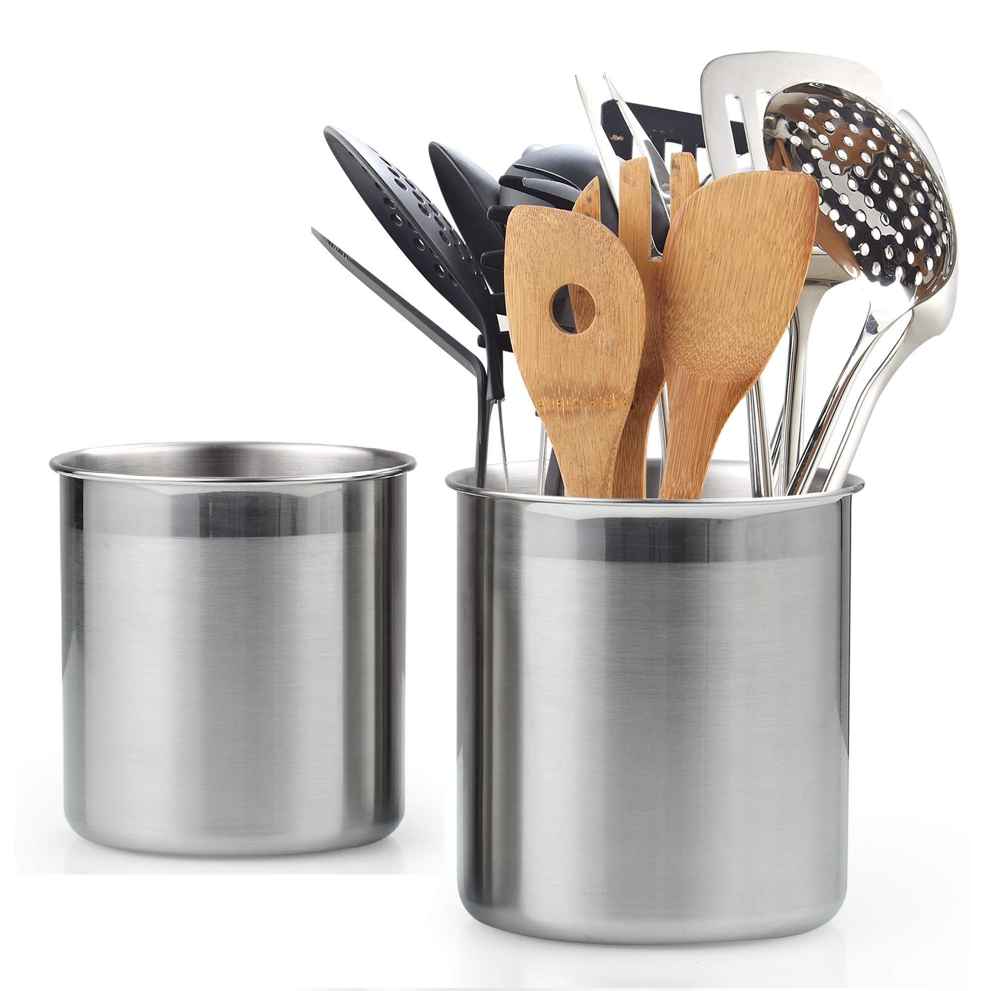Cook N Home 02639 Stainless Steel Utensil Holder Jumbo 2PC set, 5.5-inch x 6.3-inch and 6.3-inch x 7.08-inch, Silver by Cook N Home