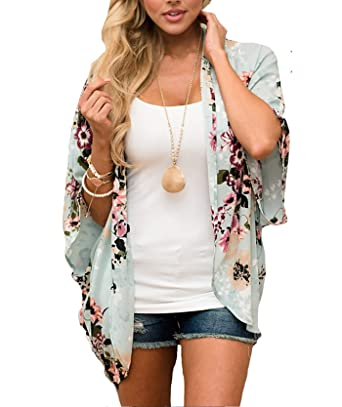 3d7f787089 Women's 3/4 Sleeve Floral Kimono Casual Cardigan Sheer Loose Shawl Chiffon  Beach Cover Up