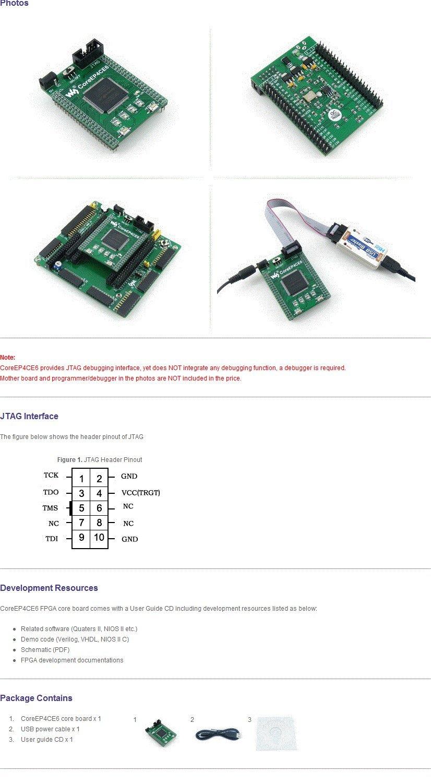 Educational Toys Waveshare CoreEP4CE6 EP4CE6 EP4CE6E22C8N FPGA