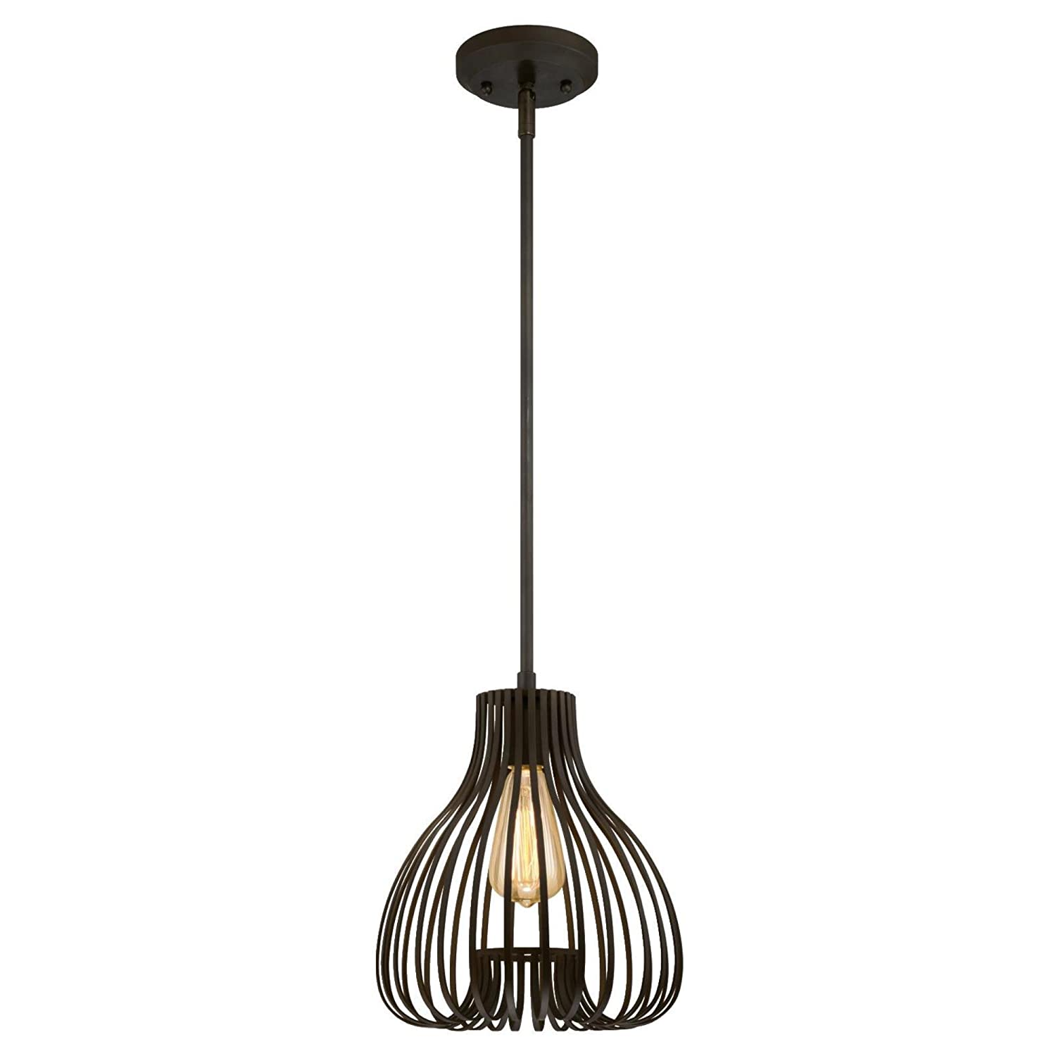 Westinghouse lighting 6345200 one light pendant old rubbed bronze finish with cage shade amazon com