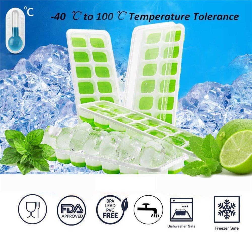 Queta Bac /à Gla/çons en Silicone avec Couvercle Ice Cube Tray de 14 Compartiment Moule /à Glace LFGB Certifi/é pour Bi/ère Whisky Cocktail d/'autre Boisson Vert