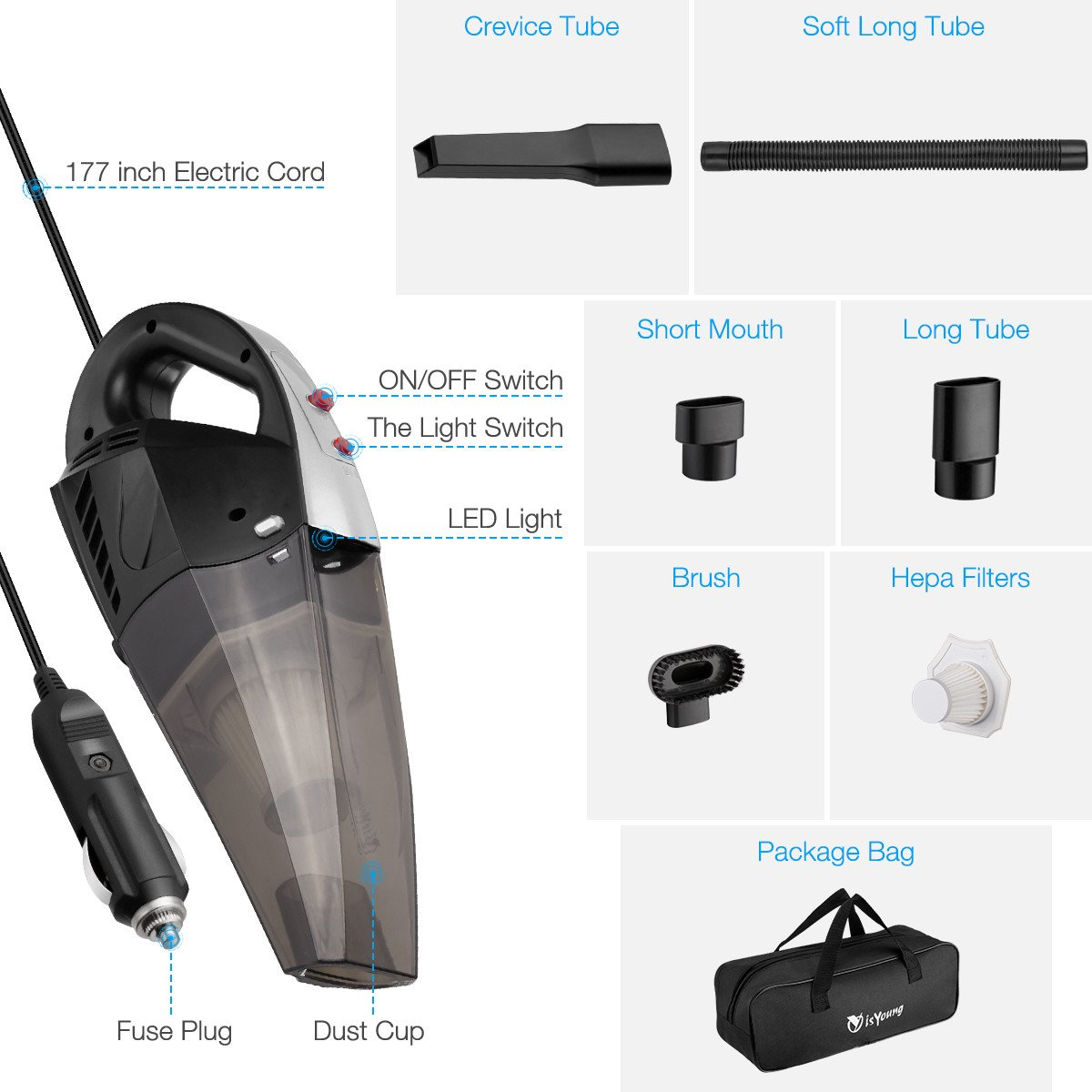 isYoung Car Vacuum Cleaner, High Power Handheld Vaccum Cleaner for Car, Auto Vacuum Cleaner Stronger Suction with LED Light, Carrying Bag, HEPA Filter - Black Silver[Upgraded]