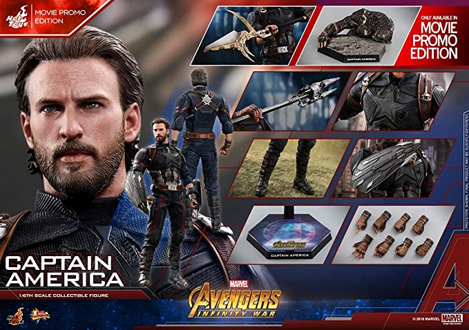Amazon.com: Marvel Avengers: Infinity WAR Captain America Steve Rogers (Movie Promo Edition): Toys & Games
