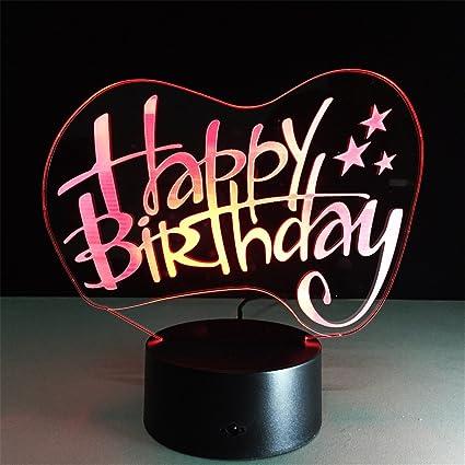 Happy Birthday 3D Remote Control ILLusion Night Light ...