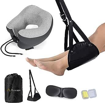 Flyscape Travel Pillow, 100% Pure Memory Foam Neck Pillow, Travel Accessories Plane Travel Kit, 3D Eye Masks, Noise Canceling Earplugs, Foot Hammock & Bag. Traveling Gifts, Standard (Grey)