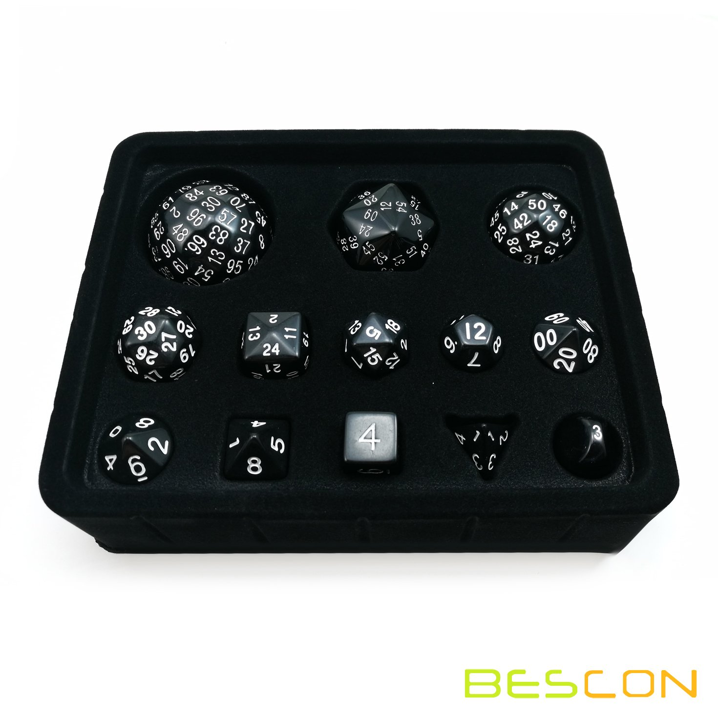 Bescon Complete Polyhedral Dice Set 13pcs D3-D100, 100 Sides Dice Set Opaque Black by BESCON DICE (Image #2)