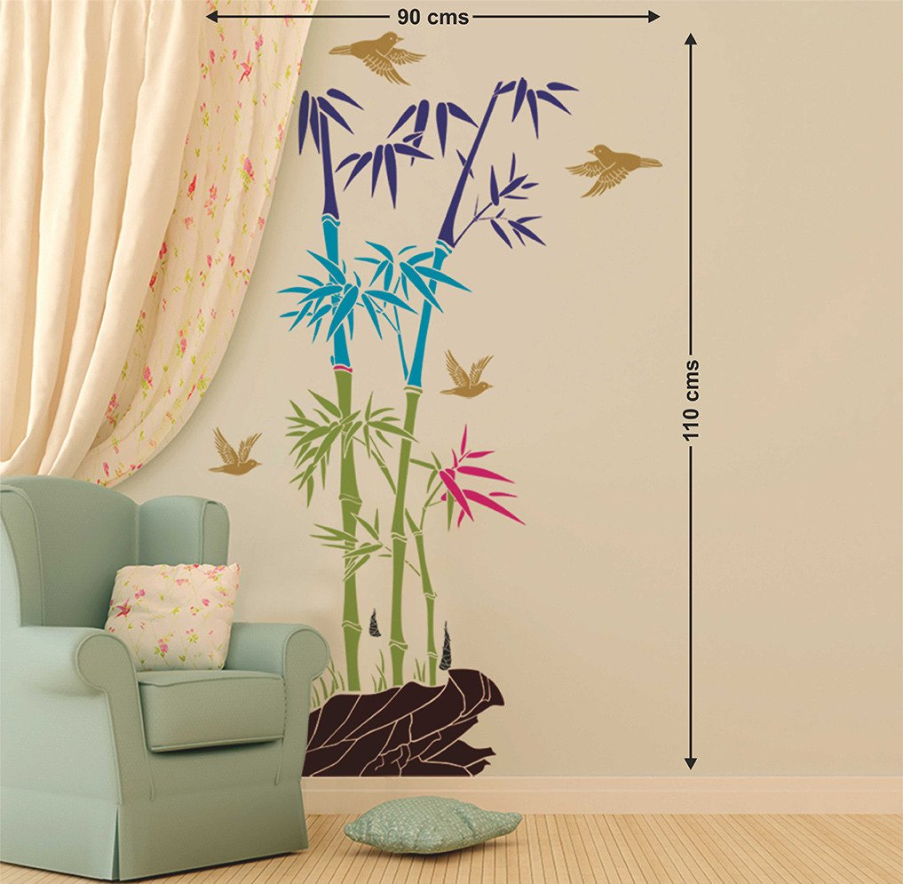 buy decals design bamboo trees with rocks and birds jungle buy decals design bamboo trees with rocks and birds jungle scenery wall sticker pvc vinyl 50 cm x 70 cm online at low prices in india amazon in