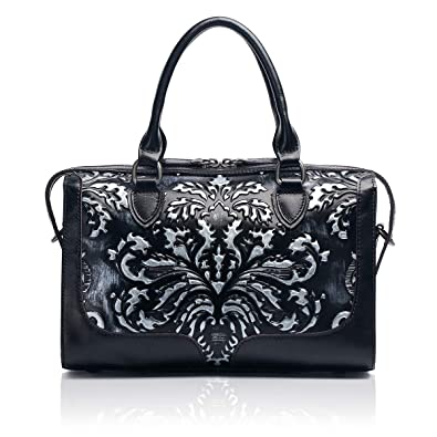 7b4381d675 APHISON Designer Hand Bags Unique Embossed Floral Women s Leather Handbags  (BLACK)