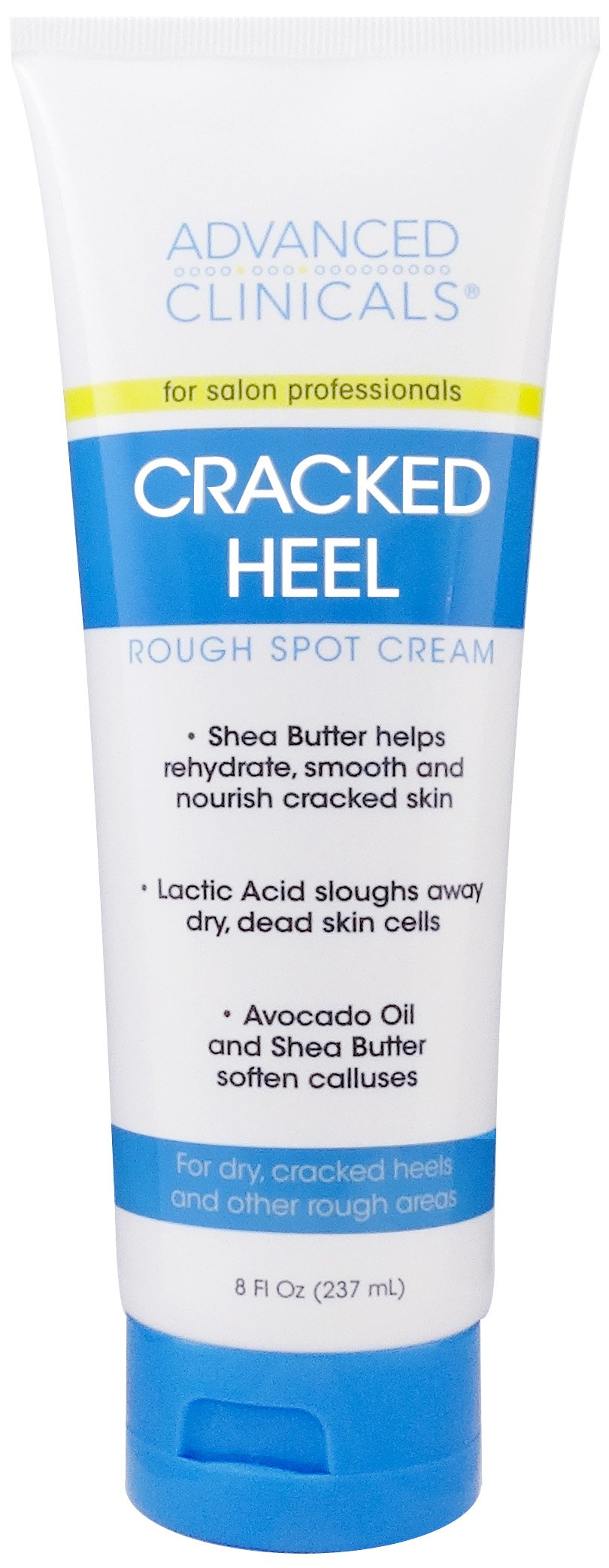Advanced Clinicals Cracked Heel Cream for dry feet, rough spots, and calluses. 8oz.