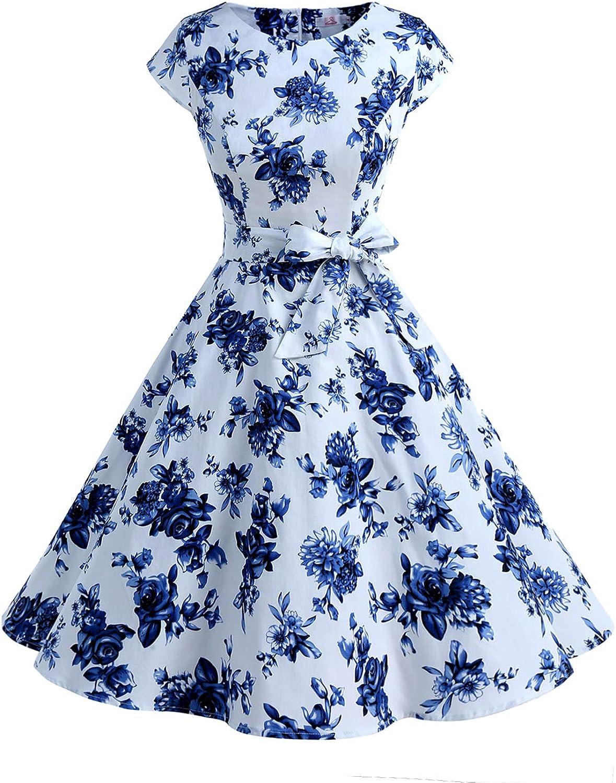 TALLA XS. Dressystar Vestidos Coctel Corto Vintage 50s 60s Manga Corta Rockabilly Elegante Mujer Blanco Azul XS