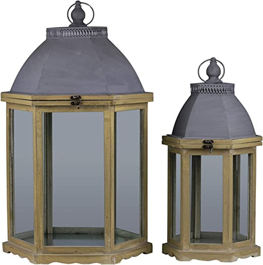 Urban Trends Wood Cylinder Lantern with Handle Brown