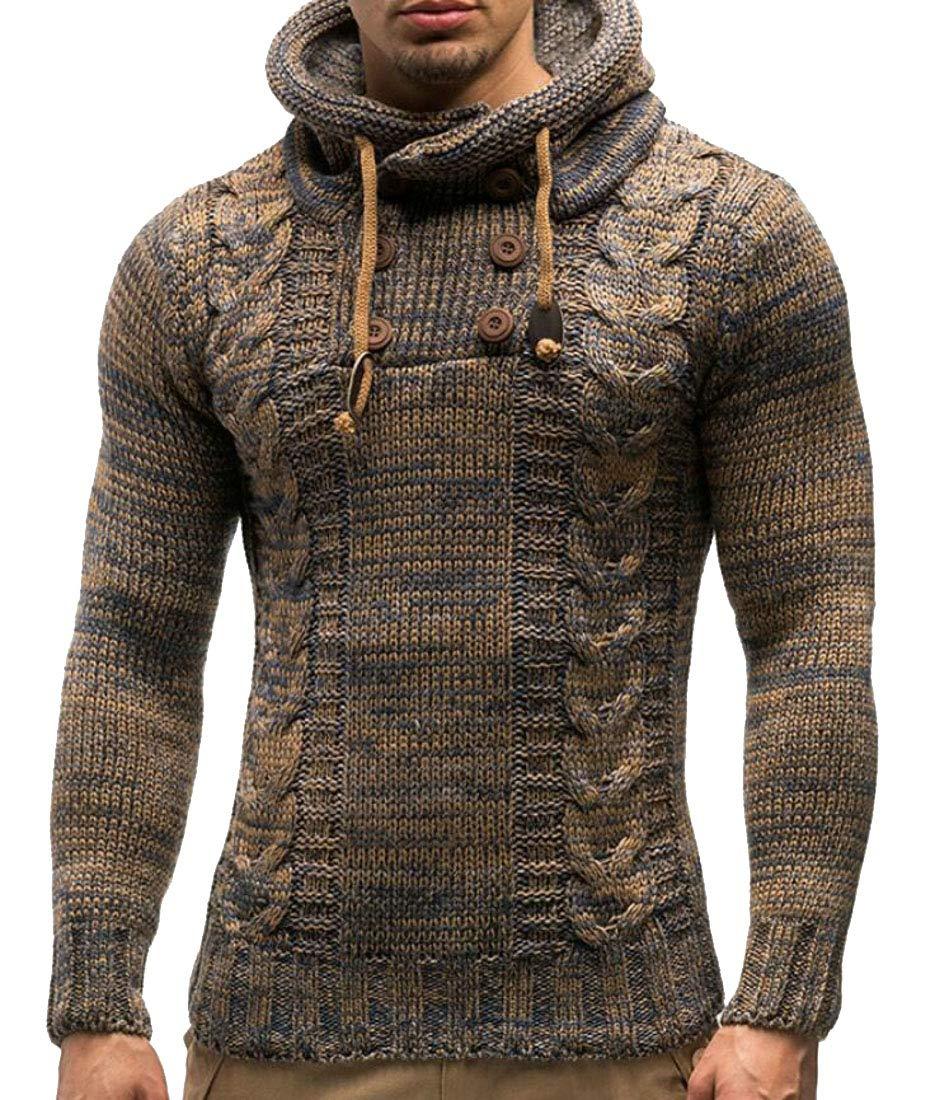 Frieed Men Buttons Knitwear Hooded Drawstring Slim Pullover Sweater