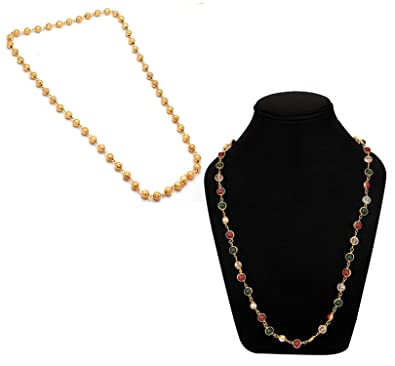 4a8845ccfb Buy Khushiyan Imitation/ fashion Jewellery Golden Beads Necklace combo Set  For Girls and Women Online at Low Prices in India | Amazon Jewellery Store  ...