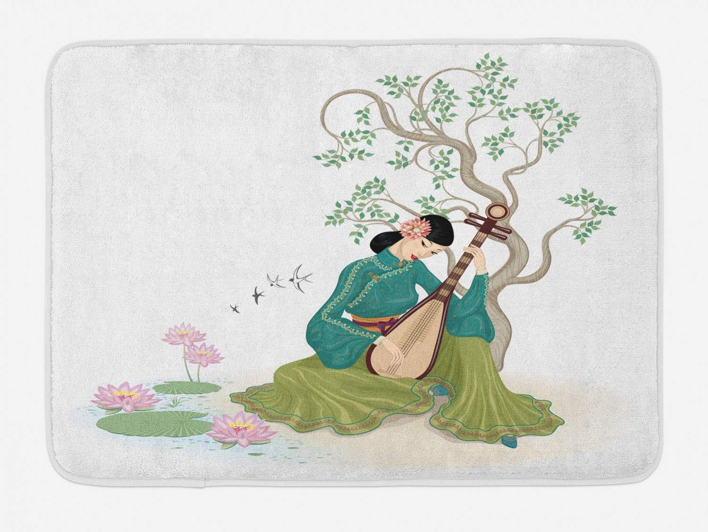 KIYINY Chinese Bath Mat, Young Woman Sitting Near a Tree and ...