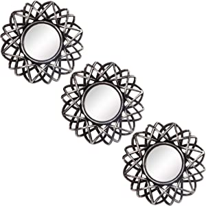 Small Round Decor Wall Mirrors Set of 3 Home Accessories for Bedroom, Living Room & Dinning Room (MS007)