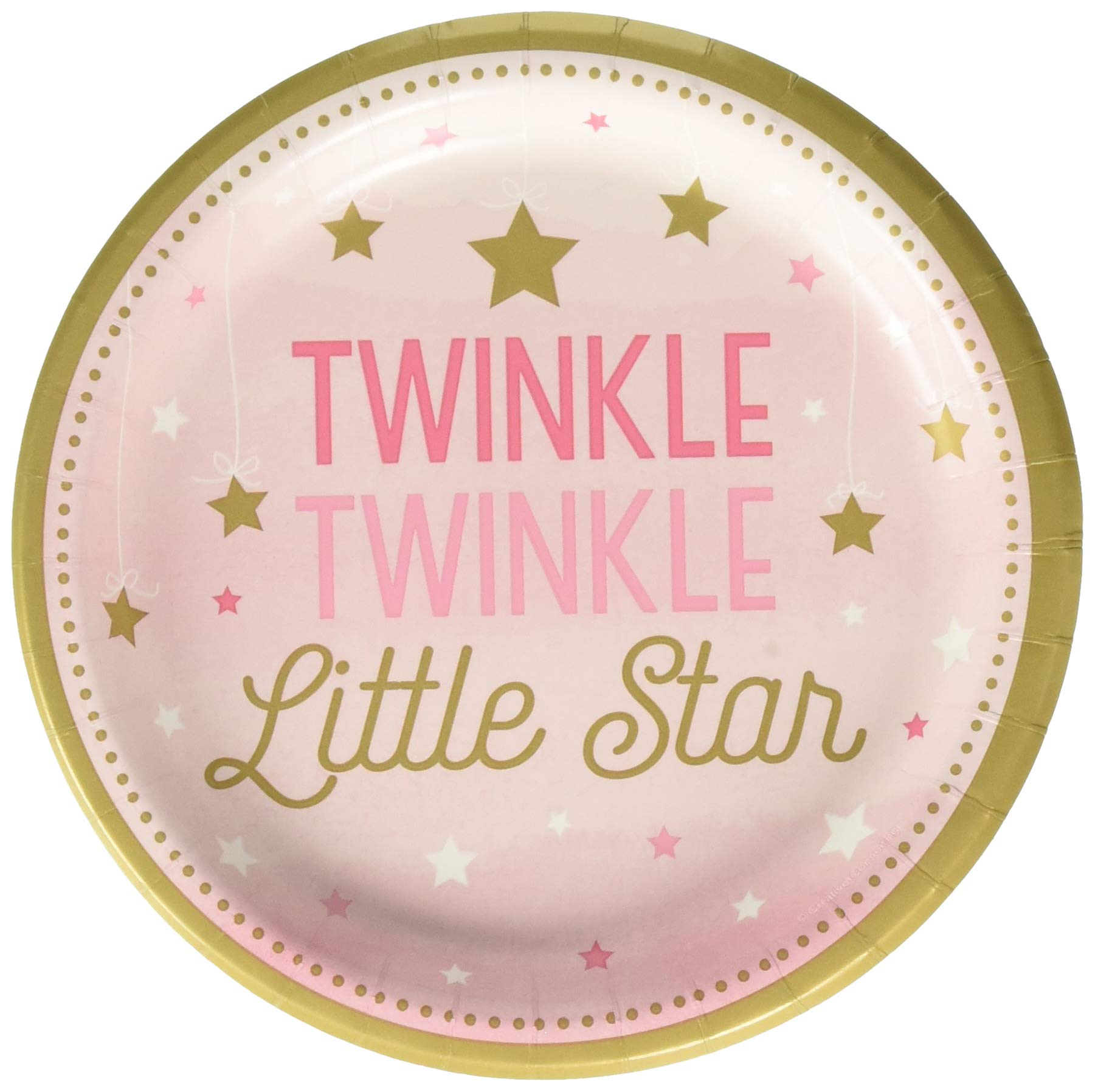 Creative Converting 323421 Twinkle Little Star Pink 7'' Dessert Plates Party Supplies 7'' Multicolor
