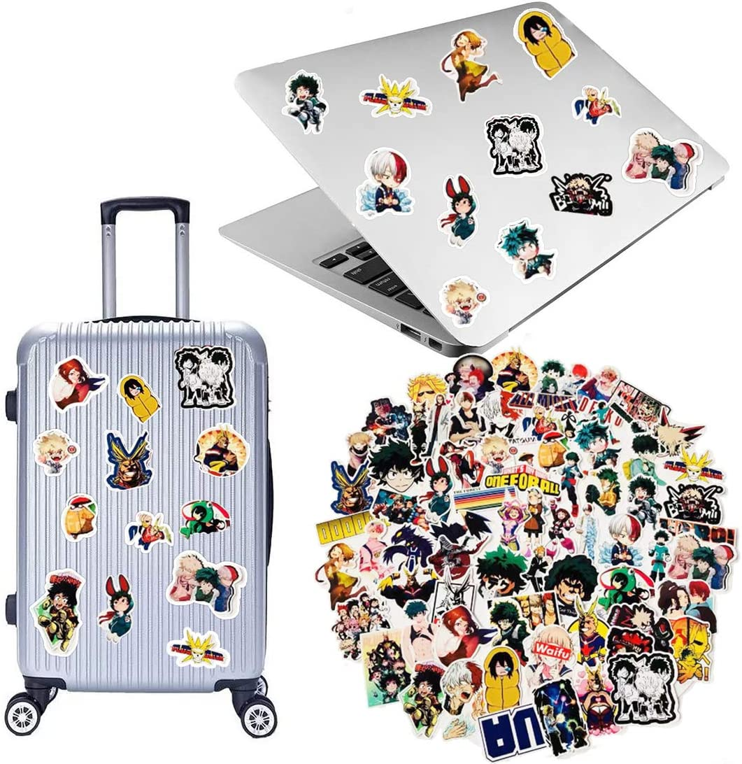 My Hero Academia Stickers Gift Set 73 Pcs Anime Cartoon Laptop Stickers// 12 Sheet Stickers// 30 Postcards//2 Button Pins//1 Phone Ring Holder//1 Lanyard// 1 Keychain and 1 Tattoo sticker
