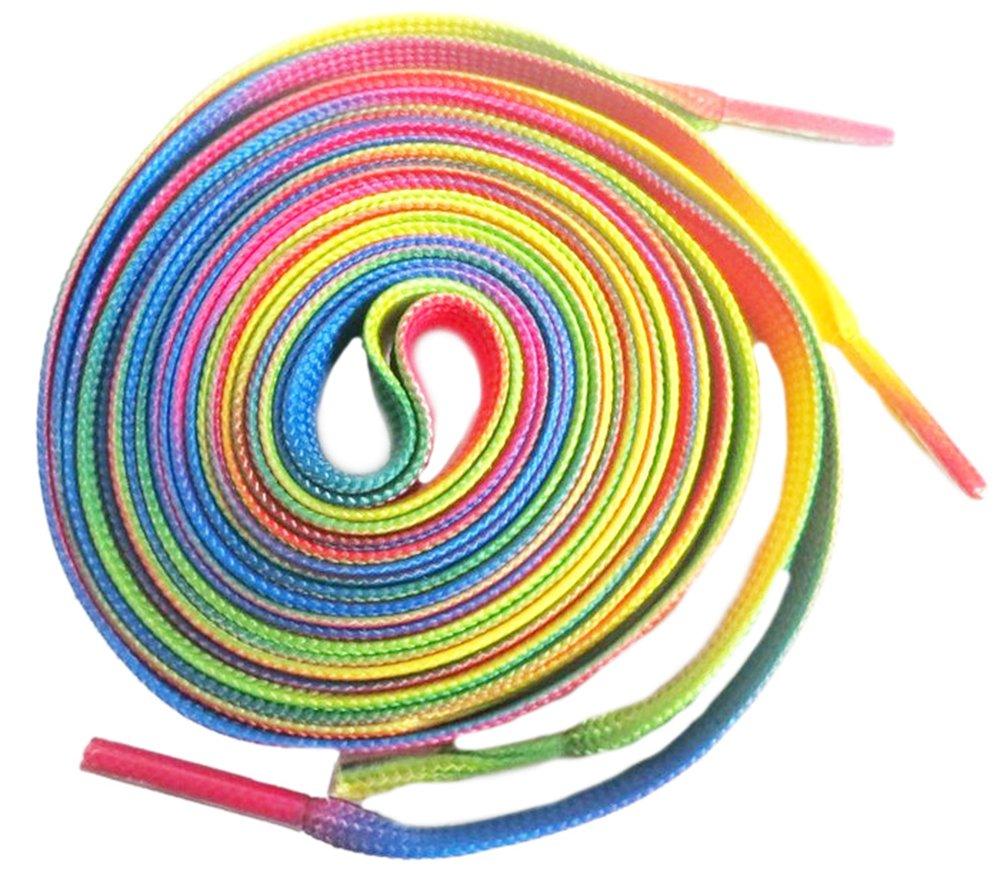 Shoeslulu 46'' Premium Flat Colorful Fashion Sneakers Shoelaces ([Flat] 46 in. (117 cm) Pack of 2, Rainbow Pride)