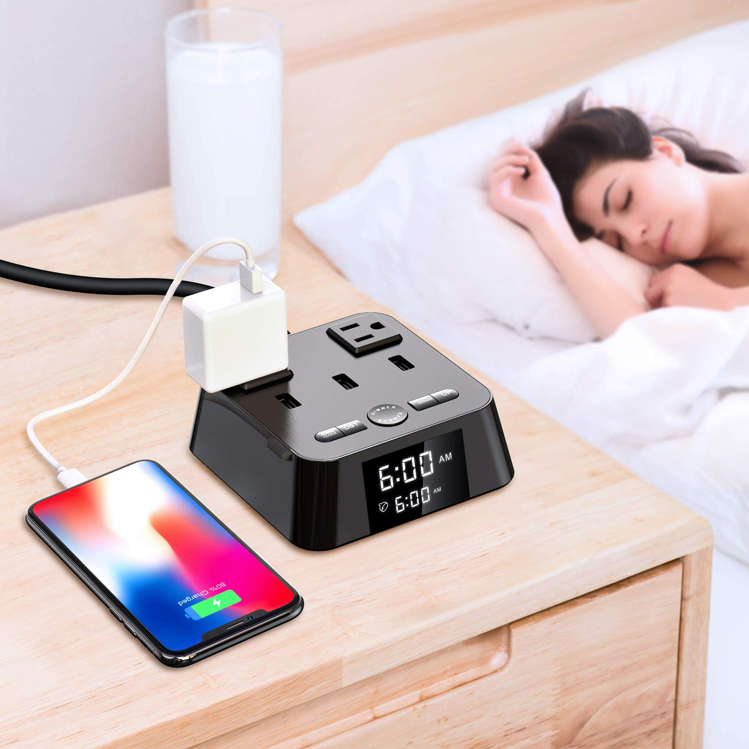Yostyle Alarm Clock Charger w/3 USB Ports & 2 ACOutlets, 6ft Power Cord Charging Station Power Strip for Hotel Home Office,UL Tested (4 Dimmer Brightness,Snooze,ON/Off Switch,DST Time,Battery Backup)