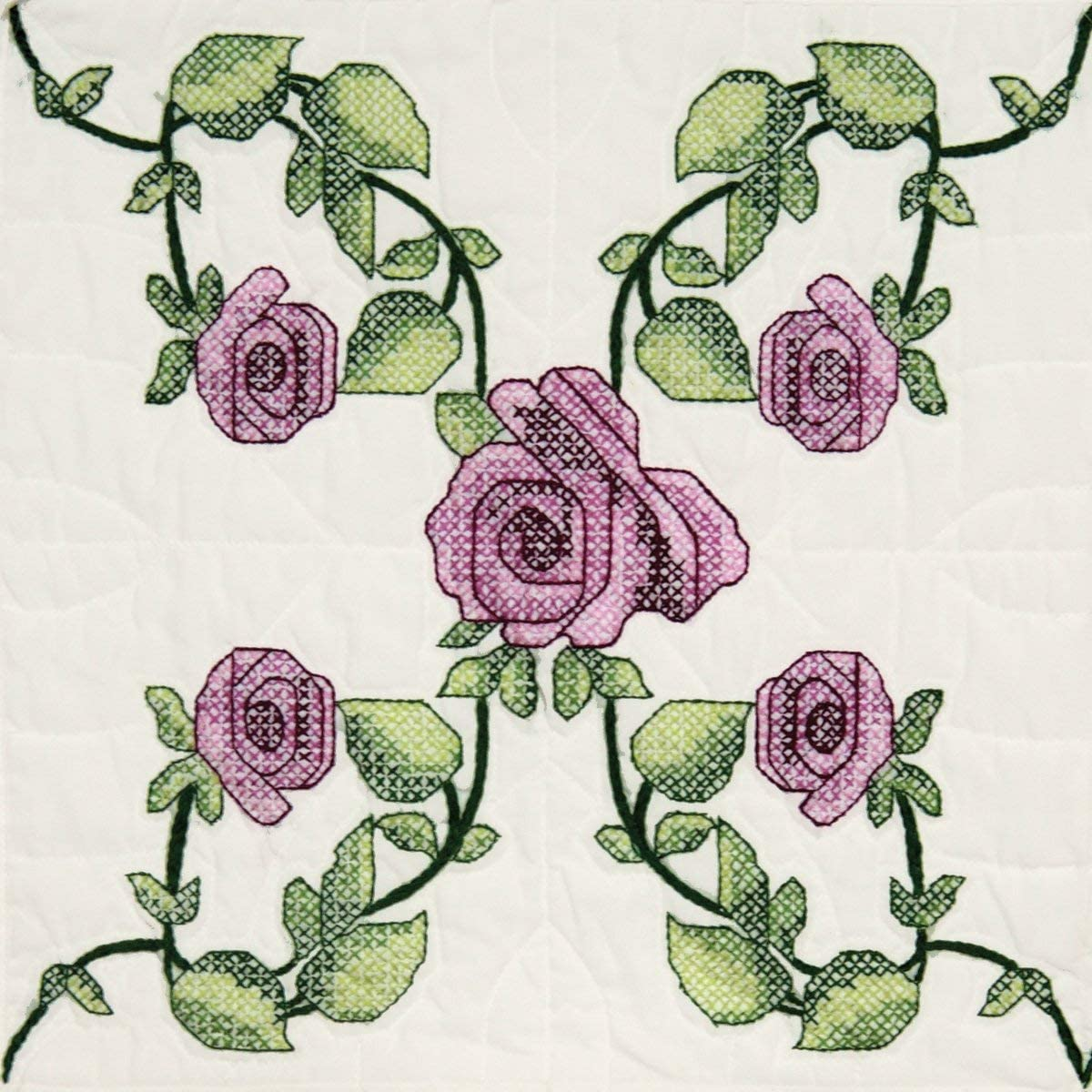 Amazon Com Fairway 95605 Quilt Blocks Rose Vine Design White 6