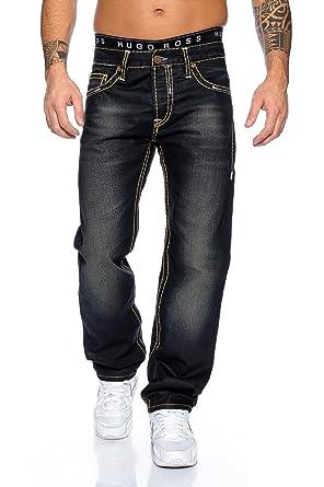 d6b28f3b65c278 Rock Creek Herren Designer Jeans Schwarz Dicke Nähte Gelb-Grau RC-2060 W30  L34