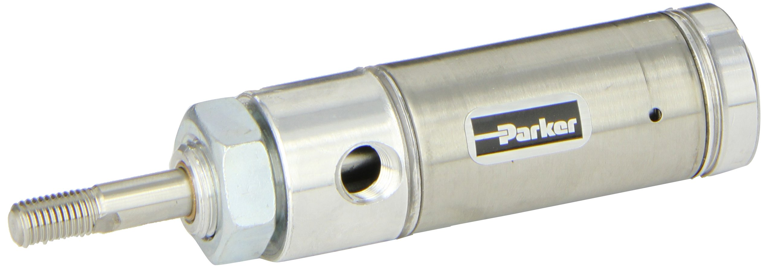Parker 1.06RSR00.5 Stainless Steel 304 Air Cylinder, Round Body, Single Acting, Spring Extend, Nose Mount, Non-cushioned, 1-1/16 inches Bore, 1/2 inches Stroke, 5/16 inches Rod OD, 1/8'' NPT Port