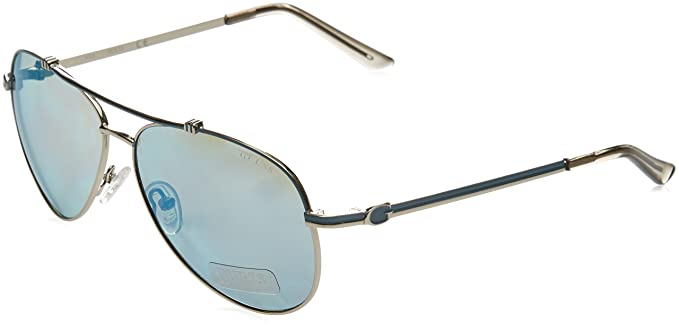 fb37f904e033 Amazon.com  GUESS Unisex GF6016 Silver Blue Mirror Lens One Size ...