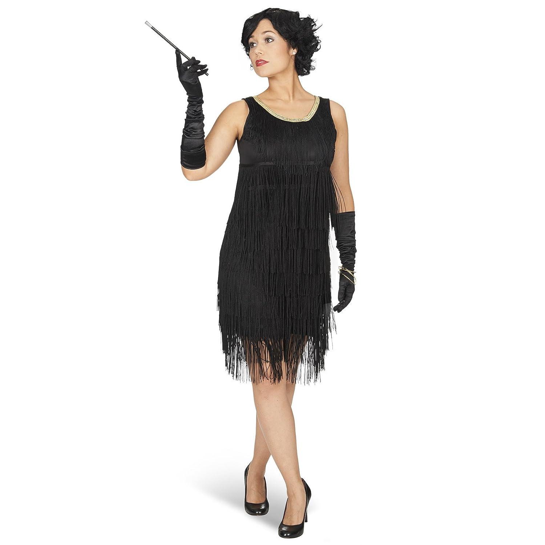 Elbenwald vestido de Charleston Iza flecos de mini vestido del traje de las señoras de 20 años, negro - 40/42