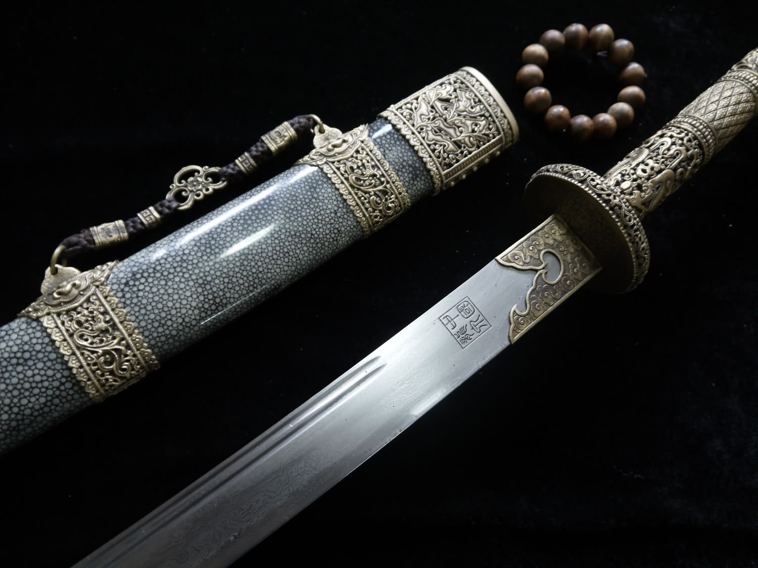 """Chinese Kangxi collection sword Brass refined Length 39""""."""