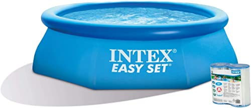 Intex 8ft x 30in Easy Set Blow Up Above Ground Swimming Pool Pump 2 Filter