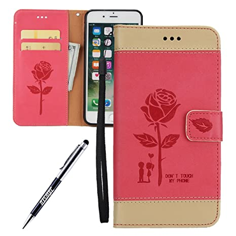 Carcasa iPhone 7 Plus, Funda iPhone 7 Plus, JAWSEU Rosas ...