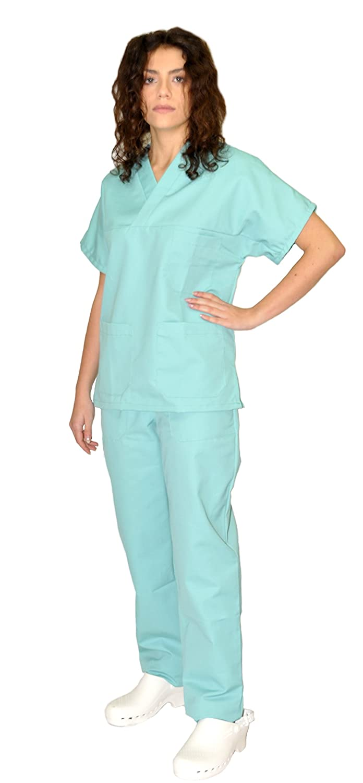 Tecno Hospital Divisa completa ospedaliera unisex, OSS, estetica, infermiere, casacca e pantalone (verde acqua, s)