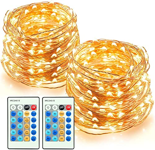 TaoTronics LED String Lights 66ft 200 LEDs Dimmable Festival Decorative Lights for Seasonal Holiday, Complete Waterproof,UL Listed Copper Wire Lights,Warm White -2 Pack
