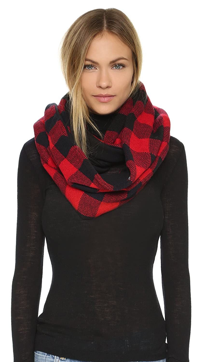 Fleece Lined Plaid Infinity Scarf in Black & White Plush Apparel yPr0foO