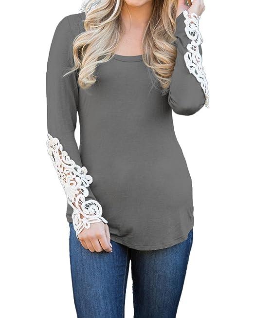StyleDome Mujer Camiseta Mangas Largas Invierno Cuello Redondo Blusa Algodón Encaje Gris S
