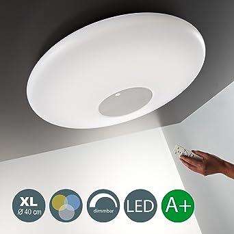 22W LED Deckenleuchte Warmweiss 3000K 6000K 2000LM Dimmbar Wohnzimmer Esszimmerleuchte Inkl Fernbedienung Nachtlicht