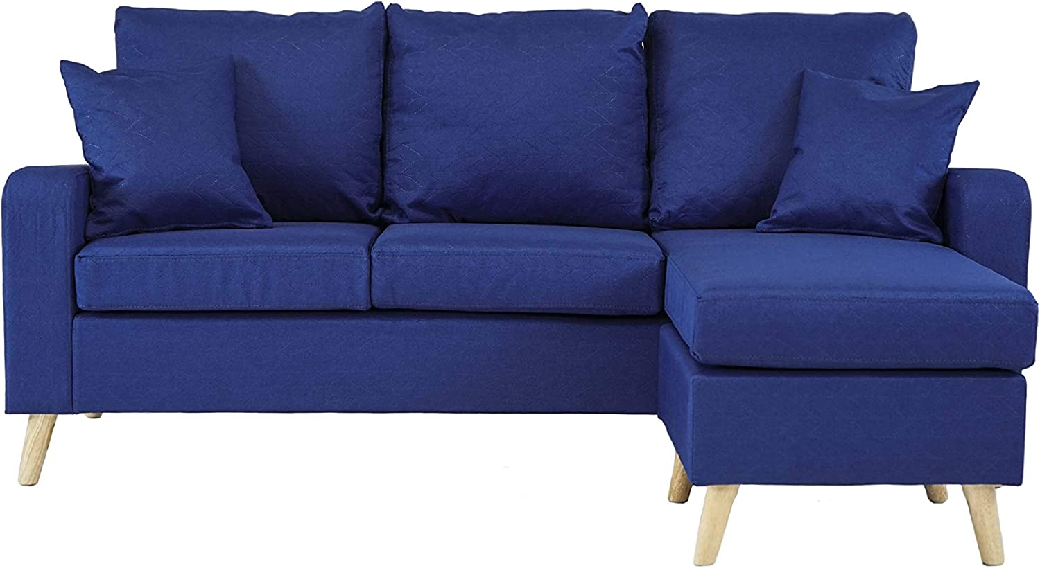 Divano Roma Furniture Middle Century Modern Linen Fabric Small Space Sectional Sofa with Reversible Chaise (Sky Blue)
