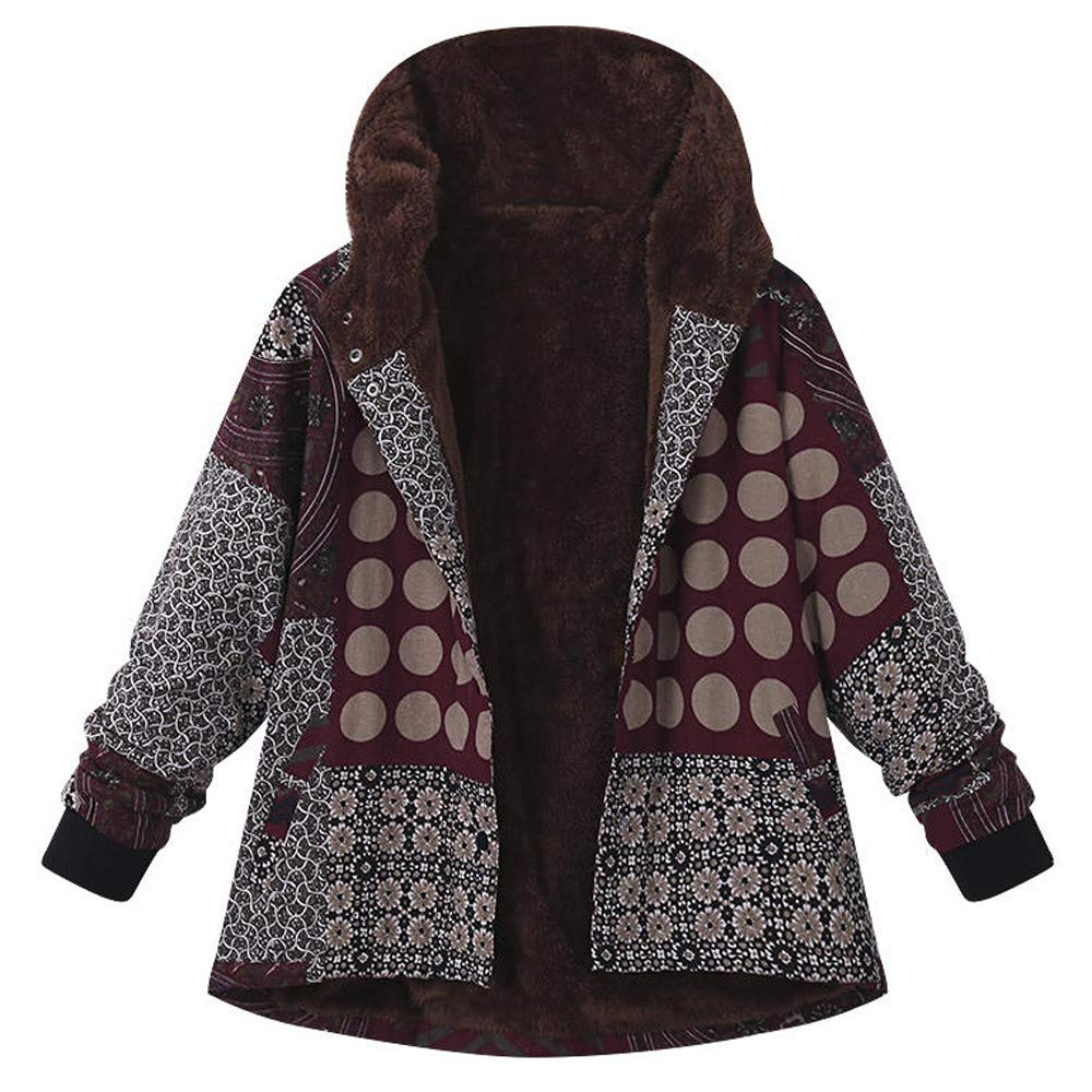 Women Hooded Long Sleeve Vintage Cotton Linen National Print Fleece Button Thick Coat Joopee