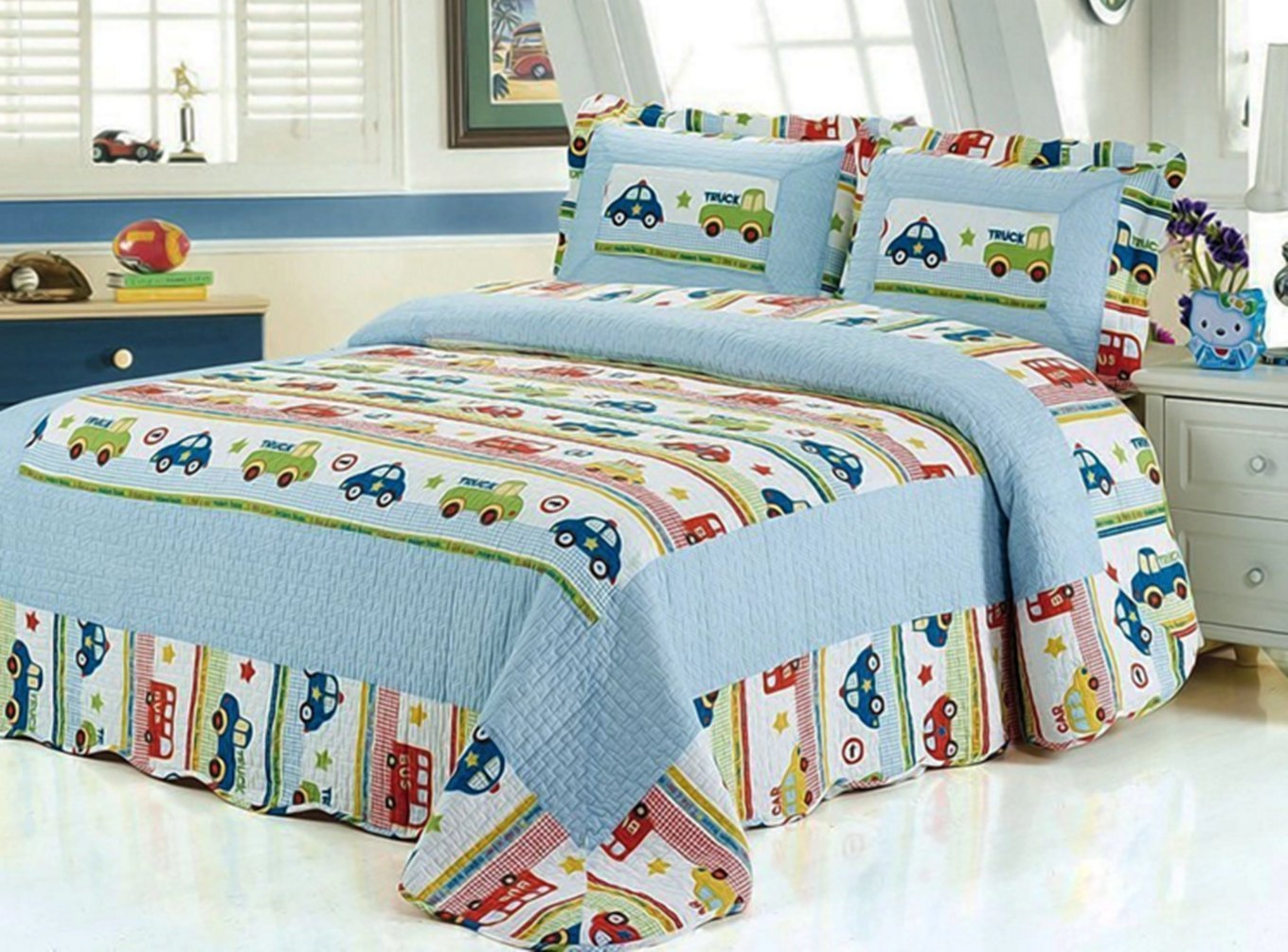 HNNSI Kids Boys Comforter Quilt Set TWIN Size 2PCS, Car and Truck Pattern Cotton Boys Car Sheet Bedspread Kids Bedding Sets (Twin, Trucks and Cars)