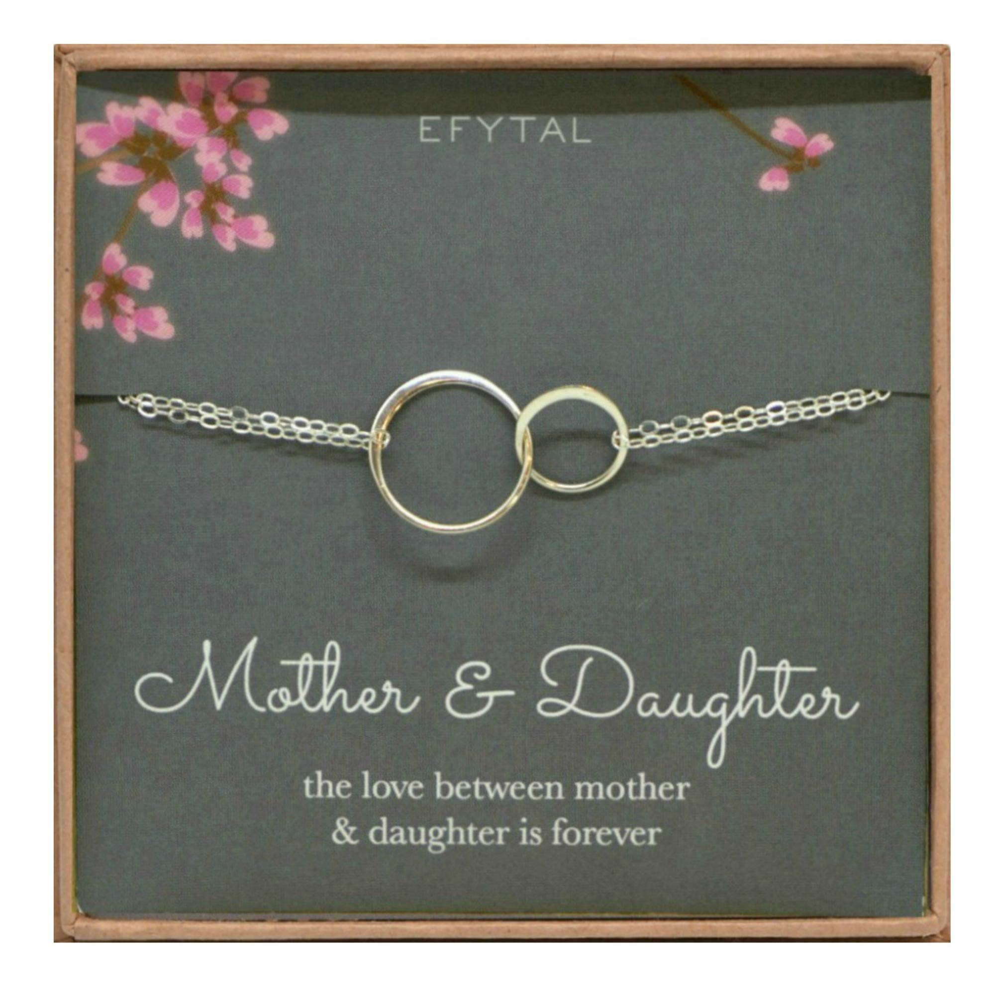EFYTAL Mother Daughter Bracelet - Sterling Silver Two Interlocking Infinity Circles, Mothers Day Jewelry Gift by EFYTAL